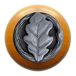 """Inviting Home - Oak Leaf Maple Wood Knob (antique pewter) - Oak Leaf Maple Wood Knob with hand-cast antique pewter insert; 1-1/2"""" diameter Product Specification: Made in the USA. Fine-art foundry hand-pours and hand finished hardware knobs and pulls using Old World methods. Lifetime guaranteed against flaws in craftsmanship. Exceptional clarity of details and depth of relief. All knobs and pulls are hand cast from solid fine pewter or solid bronze. The term antique refers to special methods of treating metal so there is contrast between relief and recessed areas. Knobs and Pulls are lacquered to protect the finish. Alternate finishes are available."""
