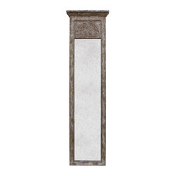 Kathy Kuo Home - Lyon Laurel Trumeau French Carved Antique Mirror - The inlaid carving on this tall vintage mirror give it the look of a gorgeous European relic, rescued from ancient castle ruins. The taupe and mottled grey finish adds a stone-like appearance to the wood frame, which surrounds a slender distressed mirrored column. This impressive mirror gives any home a stately, powerful style, defining your urban loft or French country room.