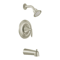 "Moen - Moen T2133BN Brush Nickel Posi-Temp Tub/Shower Valve Trim, 1-Function Cartridge - Moen T2133BN is part of the Eva bath collection. Moen T2133BN is a new bathroom decor style by Moen. Moen T2133BN has a Brushed Nickel finish. Moen T2133BN Posi-Temp Tub and Shower valve only trim fits any MPact common valve system or MPact Posi-Temp 1/2"" valve available separately. Moen T2133BN is part of the Eva collection, with sophisticated lines and elegant transitional design giving today's home that timeless appeal. Moen T2133BN Tub and Shower valve trim includes single-function pressure balancing Cartridge. Back to back capability. Moen T2133BN is a single handle Tub and Shower valve trim only, the handle adjusts temperature. Moen T2133BN valve only single handle trim provides for ease of operation. Moen T2133BN Posi-Temp pressure balancing valve maintains water pressure and controls temperature. Moen T2133BN includes Easy Clea"" xLT single function showerhead 2.5 GPM max., and a 7? slip fit diverter tub spout. Moen T2133BN is ADA approved. Brushed Nickel has a Lifeshine finish guarantee from Moen and provides style and durability. Moen T2133BN metal lever handle meets all requirements ofADA ICC/ANSI A117.1 and CSA to meet CSA B-125, ASME A112.18.1 M. Lifetime Limited Warranty."
