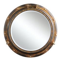 Metal Porthole Mirror - Hang this rustic porthole mirror above the bed for an instant nautical feel.