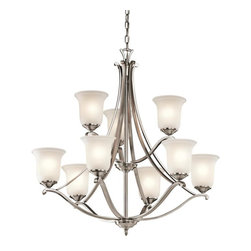 Joshua Marshal - Nine Light Classic Pewter Up Chandelier - Nine Light Classic Pewter Up Chandelier