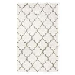 nuLOOM - nuLOOM Handmade Moroccan Trellis Faux Silk Wool Rug , Nickel, (3' X 5') - Material: 75% Wool, 25% Viscose