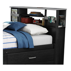 South Shore - South Shore Cosmos Full Bookcase Headboard in Black Onyx - South Shore - Headboards - 3127093