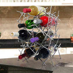 Vinotemp - Epicureanist Abstract Wine Rack - Made from sturdy metal. Fits 7 bottles. 11.25 in. W x 7.88 in. D x 15.63 in. H (4 lbs.). Epicureanist collection. Lead time: 3 to 5 days. Contemporary modern design. WarrantyThis portable metal wine rack is a beautiful piece of art that will be the topic of conversation among your guests. The Abstract Wine Rack is the perfect size to be placed on a counter or table top.
