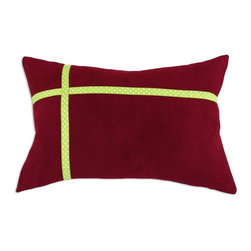 Chooty & Co. - Chooty and Co Passion Suede Cinnabar with Green Ribbon Throw Pillow - CS12T810 - Shop for Pillows from Hayneedle.com! Dressed up like a perfectly gift wrapped package the Chooty and Co Passion Suede Cinnabar with Green Ribbon Throw Pillow adds holiday flair to your guest bedroom or sofa. This decorative pillow is made of super soft color-rich cinnabar polyester suede. Its lime green and white trim design adds festive charm. The hypoallergenic poly fill is plush and comfy. About Chooty & Co.A lifelong dream of running a textile manufacturing business came to life in 2009 for Connie Garrett of Chooty & Co. This achievement was kicked off in September of '09 with the purchase of Blanket Barons well known for their imported soft as mink baby blankets and equally alluring adult coverlets. Chooty's busy manufacturing facility located in Council Bluffs Iowa utilizes a talented team to offer the blankets in many new fashion-forward patterns and solids. They've also added hundreds of Made in the USA textile products including accent pillows table linens shower curtains duvet sets window curtains and pet beds. Chooty & Co. operates on one simple principle: What is best for our customer is also best for our company.