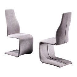 Creative Furniture - Luisa Dining Chair in Light Grey Fabric - Easy, fun, beautiful, stylish, modern, trendy and ergonomic dining chair from Luisa Collection. The chairs in this collection have an unusual, creative and ergonomic shape. These chairs are fully upholstered in fabric. The seat has a high density foam, for maximum comfort. The frame of the chair is made of steel. This chair has a light grey fabric upholstery. It will make your room more cozy and comfortable.    Features: