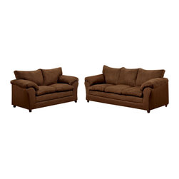 Chelsea Home Furniture - Chelsea Home Gail 2-Piece Living Room Set in Flatsuede Chocolate - Gail 2-Piece living room set in Flat suede Chocolate belongs to the Chelsea Home Furniture collection