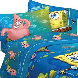 Franco Manufacturing Company Inc - Spongebob Squarepants Fish Swirl 4pc Full Bed Sheet Set - Features: