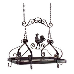 Coq-au-Vin Pot Rack - Brown metal hanging pot rack with country kitchen rooster