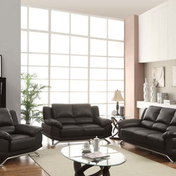 Acme Modern Black Leather Tufted Sofa Couch Loveseat Chair Living Room - The Maigan collection offers a stylish and comfortable look, featuring high chrome legs and durable bonded leather seating. This black sofa set is sure to make a statement in your living room.
