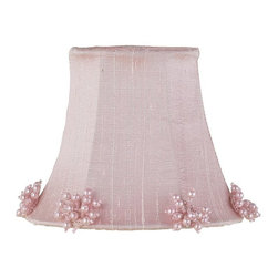 Jubilee Collection - Chandelier Shade - Pearl Burst - Pink - Material: silk, metal. 3 x 5 x 4 in.