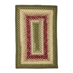 Homespice Decor English Garden Braided Rug - The Homespice Decor English Garden Braided Rug has a glorious display of green and cream paired with floral red. It's a stunning rug that conjures up images of cottages hedgerows scones and high tea. These 100% cotton flat braided rugs lend color warmth and a cozy feel to any home. Made in India.Sizes offered in this rug:Following are all sizes for this rug. Please note that some may be currently unavailable due to inventory. Also please note that rug sizes may vary by up to 4 inches in dimensions listed.Dimensions:2 x 3 ft.2.3 x 4 ft.3 x 5 ft.4 x 6 ft.5 x 8 ft.6 x 9 ft.2.6. x 6 ft. Rectangle Runner2.6 x 9 ft. Rectangle Runner3 ft. Square6 ft. Square2 x 3 ft. Oval2.3 x 4 ft. Oval3 x 5 ft. Oval4 x 6 ft. Oval5 x 8 ft. Oval6 x 9 ft. Oval8 x 10 ft. Oval2.6. x 6 ft. Oval Runner2.6 x 9 ft. Oval Runner3 ft. Round6 ft. Round7.6 ft. RoundAbout Homespice Decor RugsProducing quality homemade products since 1998 Homespice Decor has become an industry leader in braided rugs (outdoor indoor wool and cotton) and has expanded its line to include penny rugs rag rugs and its newest - Supernova rugs - which feature a swirling star braid design. Formerly known as J Quilts Company Homespice Decor shifted its focus from quilts to rugs pouring itself into the intricate details of braided rug craftsmanship. Homespice Decor is committed to providing affordable braided rugs of the highest quality in an abundance of sizes and styles.