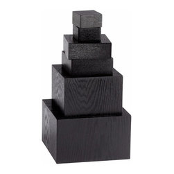 Black Wood Veneer Graduated Pedestals - *Art Pedestals