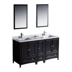 "Fresca - 60"" Espresso Double Sink Vanity w/ Side Cabin Sillaro Brushed Nickel Faucet - Blending clean lines with classic wood, the Fresca Oxford Traditional Bathroom Vanity is a must-have for modern and traditional bathrooms alike.  The vanity frame itself features solid wood in a stunning espresso finish that?s sure to stand out in any bathroom and match all interiors.   Available in many different finishes and configurations."