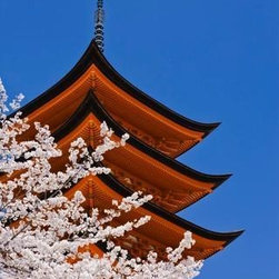 Wallmonkeys Wall Decals - Cherry Blossoms at Itsukushima Jinja Shrine Wall Mural - 24 Inches H - Easy to apply - simply peel and stick!