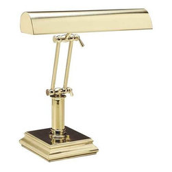 House of Troy Lighting - Adjustable Piano Lamp - P-14-201 - This polished brass-finished lamp was designed for a desk or piano. It can illuminate reading materials or sheet music. Each of the two joints can be adjusted, allowing the lamp to bow completely over as a piano lamp, stand at its full 12-inch height, or rest anywhere in between. The switch is conveniently located on the base, which is six inches square. Takes (2) 60-watt incandescent T10 bulb(s). Bulb(s) sold separately. Dry location rated.