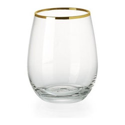 Stemless Wineglasses, Gold Rimmed - I want to sip my wine out of these gold-rimmed stemless wineglasses every day. I bet they would make that $10 bottle of wine seem extra nice.