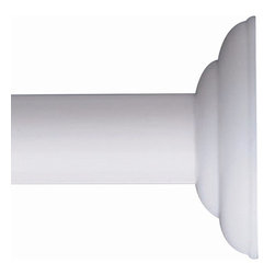 Zenith - 72 in. Permanent Shower Rod in White Decorati - Manufacturer SKU: 648WW. Supports hanging shower liner. Adjustable from 41-72 in.. Rust-resistant. Decorative end caps. Permanent mount. Material: 100% Painted Steel. White finishUpgrade the look of your shower with this rod with decorative ends that coordinates with many bath decor styles. This high quality rod installs easily in showers up to 72 In. This rod permanently mounts with included hardware. Its rust-resistant finish ensures long-lasting, good looks in any shower.