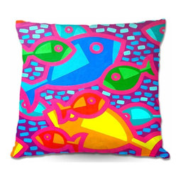 DiaNoche Designs - Pillow Woven Poplin from DiaNoche Designs - Funky Fish - Toss this decorative pillow on any bed, sofa or chair, and add personality to your chic and stylish decor. Lay your head against your new art and relax! Made of woven Poly-Poplin.  Includes a cushy supportive pillow insert, zipped inside. Dye Sublimation printing adheres the ink to the material for long life and durability. Double Sided Print, Machine Washable, Product may vary slightly from image.