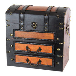 Decorative Wooden Chest with Drawers - Decorative drawer chest from Quickway Imports, this can be a great use to organize your watches, pens, cell phone, wallet and loose change to put in this drawer chest. The faux leather and wood is perfect for ample room to store all your extra belongings. This meticulously handcrafted wood can be placed on a dresser, nightstand, or desk. Great gift idea.