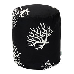 Outdoor Black Coral Small Pouf