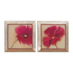 "Uttermost - Poppy Power Floral Art, Set of 2 - You will be reminded of the poem by Lt. Col John McCrae, ""In Flanders Field"" every time you see these beautiful prints. The frames are heavily distressed with a silver finish and rust and gray wash that lends depth and interest and sets off the rich colors of these poppies."