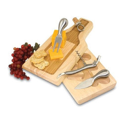 Home Decorators Collection - Silhouette Cheese Tray Set - Our Silhouette Cheese Tray Set is a cheese board made of eco-friendly rubberwood, known for its rich grain and durability, with a bamboo inlay featuring the silhouette of a wine bottle. The board swivels open to spotlight two brushed stainless steel cheese tools and one brushed stainless steel waiter-style corkscrew. Features a ring-style nickel-plated alloy bottle stopper with real cork, which fits into a nook at the top of the board, appearing as though it's corking off the bottle. Wipe clean.