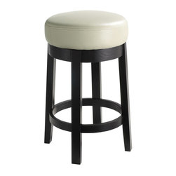 Sunpan Imports - Cedric Swivel Counter Stool w Padded Seat in Cream - A leather upholstered seat in cream adds a touch of luxury to this simple, streamlined counter stool, a stylish addition to any decor. Perfect for a kitchen island or breakfast bar, the stool has a wood base in black finish and a generously padded swivel seat. Parlor style backless counter stool with a swivel seat. Embossed bonded leather with a black frame and legs. No assembly required. The foam/cushion is 3.5 in. dense. 15.5 in. Dia x 26 in. H