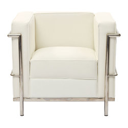 Modway - Modway EEI-126 Charles Petite Armchair in White - Urban life has always a quandary for designers. While the torrent of external stimuli surrounds, the designer is vested with the task of introducing calm to the scene. From out of the surging wave of progress, the most talented can fashion a forcefield of tranquility.