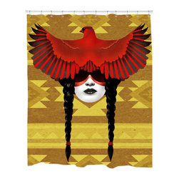 Sharp Shirter - Sharp Shirter Cardinal Warrior Shower Curtain - This curtain is printed in USA!. Hooks sold separately. Disclaimer: If you order multiple items, they may ship from separate locations.