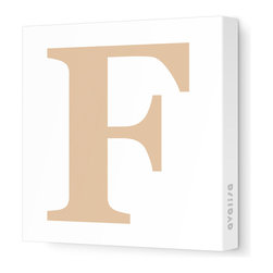 """Avalisa - Letter - Upper Case 'F' Stretched Wall Art, 18"""" x 18"""", Light Brown - Spell it out loud. These uppercase letters on stretched canvas would look wonderful in a nursery touting your little one's name, but don't stop there; they could work most anywhere in the home you'd like to add some playful text to the walls. Mix and match colors for a truly fun feel or stick to one color for a more uniform look."""