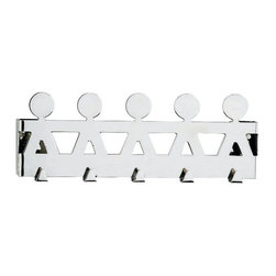 "Alessi - Alessi ""Girotondo"" Wall Hook - One look and you're hooked on this rack. Made of shiny, high-quality stainless steel, it features a quintet of butlers ready to take your wraps, pashminas, mink stoles — or grungy dog leashes. Whatever you put in its care, it's sure to hold on with a smile."