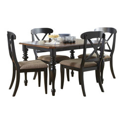 Liberty Furniture - Liberty Furniture Abbey Court 5 Piece 72x38 Rectangular Dining Room Set w/ X Bac - Elegantly styled and casually proportioned, Abbey Court works in a dining room as well as a kitchen dining combination. Black and cherry is a versatile finish for the home and is a nice accent to other wood tones throughout the house. Tables feature canted corners and heavy turned legs. Fancy face cheery veneers accent the table top. Two chair options feature napoleon styling with an x back and a saber leg or a splat back and a turned leg. Both chair seats are upholstered in sand chenille. The buffet features two top drawers, a center shelf with wine bottle storage and glass stemware holders flanked by two wooden doors for concealed storage. The sliding glass door hutch has x grid onlays as well as a bead board back panel with wood framed glass shelves. Touch lighting features a center can light. What's included: Dining Table (1), Side Chair (4).