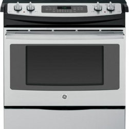 """GE - JS750SFSS 30"""" Slide-In Electric Range & In Stainless Steel - The GE JS750 30 in 44 Cu Ft Slide-In Electric Range with Self Cleaning oven in Stainless Steel features True European Convection Cooking with Precise Air plus Self-Cleaning with a Steam Clean option A Tri-Ring burner with 12 in 9 in and 6 in capabili..."""