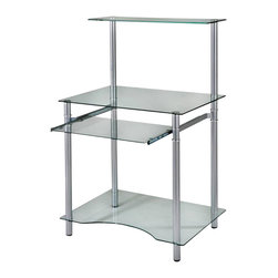 New Spec - Computer Table Workstation - Prota 17 - Color/Finish: Clear/Silver. Material: Tempered Glass/Metal. Space saving design. . 29.92 in. L x 21.26 in. W x 49.02 in. H (57 lbs)