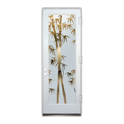 Sans Soucie Art Glass (door frame material Plastpro) - Glass Front Entry Door Sans Soucie Art Glass Bamboo Shoots - Sans Soucie Art Glass Front Door with Sandblast Etched Glass Design. Get the privacy you need without blocking light, thru beautiful works of etched glass art by Sans Soucie!  This glass is semi-private.  (Photo is view from outside the home or building.)  Door material will be unfinished, ready for paint or stain.  Bronze Sill, Sweep.  Satin Nickel Hinges. Available in other finishes, sizes, swing directions and door materials.  Dual Pane Tempered Safety Glass.  Cleaning is the same as regular clear glass. Use glass cleaner and a soft cloth.