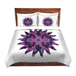 DiaNoche Designs - Duvet Cover Microfiber by Susie Kunzelman - Purple Maze Sun - Super lightweight and extremely soft Premium Microfiber Duvet Cover in sizes Twin, Queen, King.  This duvet is designed to wash upon arrival for maximum softness.   Each duvet starts by looming the fabric and cutting to the size ordered.  The Image is printed and your Duvet Cover is meticulously sewn together with ties in each corner and a hidden zip closure.  All in the USA!!  Poly top with a Cotton Poly underside.  Dye Sublimation printing permanently adheres the ink to the material for long life and durability. Printed top, cream colored bottom, Machine Washable, Product may vary slightly from image.
