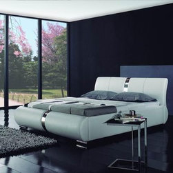 Regina Bed Frame - Supple genuine leather accented by eye catching detail work in the headboard and foot board create the perfect addition to your stylish bedroom decor in the Regina Modern Leather Bed Frame.