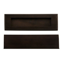 "Georgian Solid Bronze Mail Slot - 10"" x 3"" - Bronze Patina - This solid bronze mail slot will complete your front door beautifully. It tilts inward for easy deposit, and features a classic rope detail around the exterior."