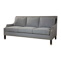 Kathy Kuo Home - Huntley Silver Grey Linen Masculine Regency Style Condo Sofa - This sumptuous centerpiece has glamorous Hollywood style that doesn't sacrifice comfort. The silver grey linen upholstery  feels like you're sinking into a cloud. Rich, espresso-finished legs and natural brass nail head trim adds the finishing touches on this modern masterpiece.