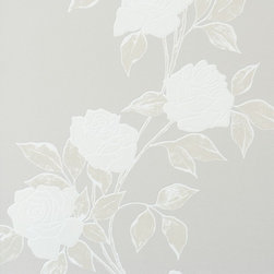Walls Republic - Rose's Rose Egg Shell Wallpaper R1464, double roll - Roses Rose is a pastel flower wallpaper with a traditional rose pattern. The soft hues make it a light and airy addition to any space. Use it in your living room for a calming aura.