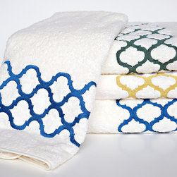 Anali - Tangier Bath Towel Set - Tangier, a Moroccan inspired pattern is embroidered on Roma Italian cotton terry. Tangier is featured in three color options, Pacific Blue, Foilage Gold and Meadow Green. The embroidery is finished the entire width of the towel. Each Bath Set includes a bath towel (30x52), hand towel (18x32) and wash cloth (13x13). The towels are machine washable, no bleach products. Tumble dry low. Made in USA. Free Shipping on ground domestic orders!