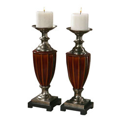 Uttermost Bay Ceramic Candleholders, S/2 - Ceramic finished in a burnt russet glaze with antiqued silver champagne accents and a matte black base. Distressed beige candles included. Ceramic finished in a burnt russet glaze with antiqued silver champagne accents and a matte black base. Distressed beige candles included.
