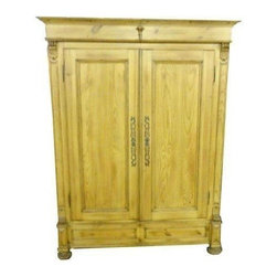 "Antique French Harness Armoire - The age of this piece is unknown but based on the construction and the techniques used, it may be close to 150 years old!  The item has been completely restored.  It is made from old world knotty pine solid wood stock with four substantial shelves for storing linens, towels or any soft goods.  It has a full cornice and deep fascia at the top and rests on large bun feet.  We're tagging this as ""Good"" only because there are a few ""century plus"" antique marks on the item; the type that so many high end manufacturers try to imitate today.  In the Sellers opinion it is in excellent condition."