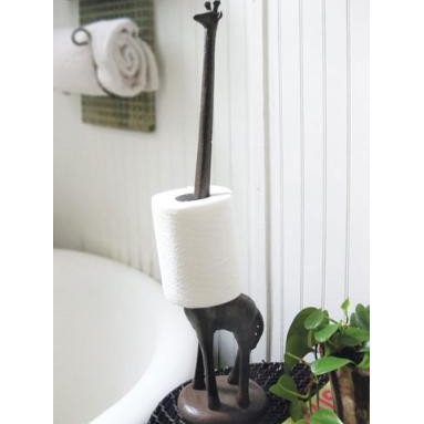 giraffe paper towel holder - I don't know about you, but I hate replacing the t.p. on those annoying little holders. This giraffe's neck is the perfect solution.