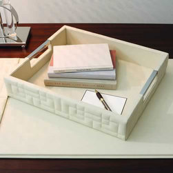 Global Views - Global Views 9.91228 Quilted Ivory Leather Transitional Tray - Global Views 9.91228 Quilted Ivory Leather Transitional Tray