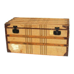 Used Antique Louis Vuitton Style Steamer Trunk - Early antique Luis Vuitton style flat top steamer trunk made of trianon canvas with striped pattern. protected by wood construction and strapping, with metal corners. Large hole in canvas on back of trunk and stains. Lots of original travel stickers including several cunard line emblems. world travel trunk with home in San Francisco, California. Very unique trunk circa 1890.