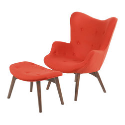 Paddington Chair with Ottoman Set in Poppy - This chair waits for you with open arms. Rest easy in its cushy, button-tufted seat that's oh so chic in a surprising bright hue. Then kick up your feet on the matching ottoman and enjoy the evening.