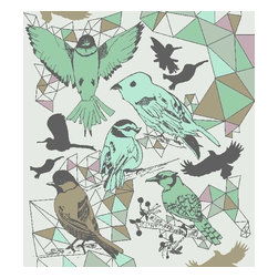 Dana Haim, LLC - Bird is the Word Wallpaper, Mint - Digitally printed wall coverings inspired by multifaceted crystals and magic. Designed in Brooklyn and printed in California. No VOC's. Sold per square foot. Please allow 2-4 weeks.