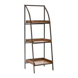 Safavieh - Safavieh Ella Leaning 47 Inch Etagere in Black Iron and Medium Ash - Inspired by French Modernism's love of organic materials, the Ella etagere is the perfect addition to any contemporary interior. Crafted with elm wood and medium ash colored black iron, its gentle curves and hefty wood shelves are perfect for adding instant warmth to a minimalist interior. What's included: Etagere (1).
